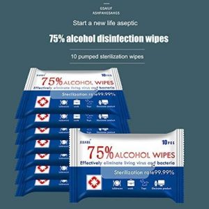 Disposable Wet Wipes, 75% Alcohol Cleaning Wet Wipes (100 wipes)